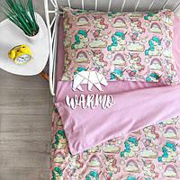 """Комплект детского постельного белья Warmo™ """"Розовые единороги"""" 1,5-спальный"""