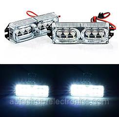 Комплект светодиодных LED стробоскопов 2х6 (крепление под решетку/бампер) - БЕЛЫЙ