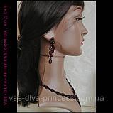 Кольє і сережки чорні з червоними камінцями, висота 4,5 див., фото 4