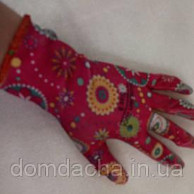 Перчатки садовые с силиконовым покрытие ( плотные) цветок (Китай)