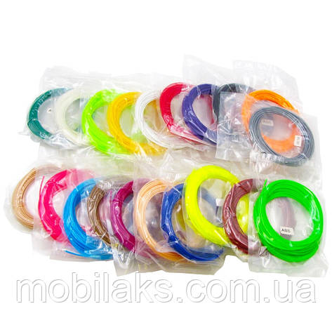 Набор пластика для 3D печати ABS, L=10 м x 20 цветов, d=1.75 мм, 0.7 кг, t плавления 185-230 гр. C, фото 2