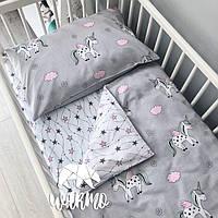 Детское постельное бельё в кроватку Warmo™ СЕРЫЕ ЕДИНОРОГИ
