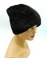 Норковая шапка женская на вязаной основе с защипом, (черная).