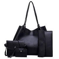 Набор женских сумок LADY BAG 4в1 (сумка-баула/латч/сумочка/визитница), черная, PU кожа, сумки