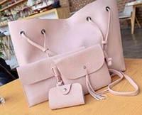 Набор женских сумок LADY BAG 2B 4в1 в наборе сумка/ визитка/клатч/косметичка, пудра, PU кожа, женская сумка