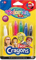 Карандаши для детского грима, 6 стандартных цветов, Colorino