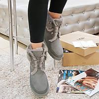 Женские зимние угги ботинки из натуральной замши и овчины серые