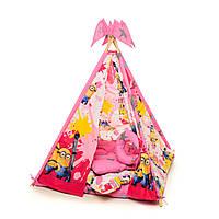 """Вигвам, детская игровая палатка с ковриком и подушками. Расцветка """"Миньон"""""""
