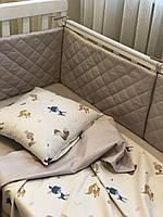 Комплект постельного белья в кроватку+ защита в кроватку от ТМ Сон-тра (простынь на резинке)