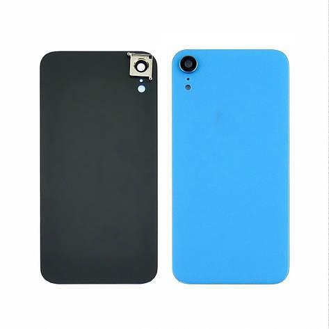 Заднее стекло корпуса для APPLE iPhone XR голубое со стеклом камеры high copy, фото 2