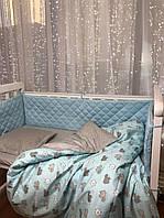 Постельное бельё в кроватку + защита в кроватку (бортики) от ТМ Сон-тра (простынь на резинке)