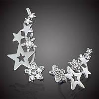 Серебряные серьги Звезды с цирконами