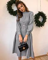 Жаккардовое платье миди с карманами