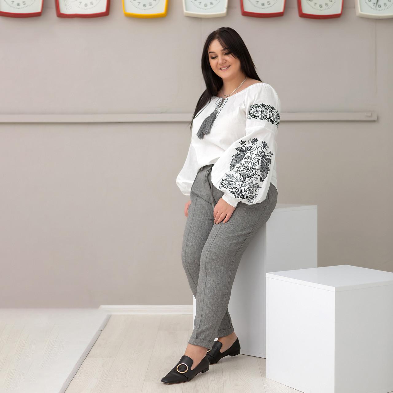 Блуза жіноча з чорно сірою вишивкою Жарптиця