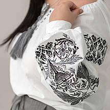 Блуза жіноча з чорно сірою вишивкою Жарптиця, фото 2