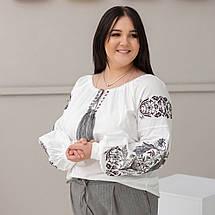 Блуза жіноча з чорно сірою вишивкою Жарптиця, фото 3