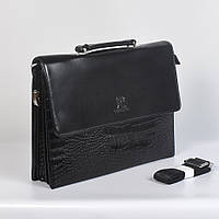 Мужская кожанная сумка через плече - Код 9902-6 - (черная)