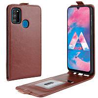 Чехол IETP для Samsung Galaxy M30s 2019 / M307 флип вертикальный кожа PU коричневый, фото 1