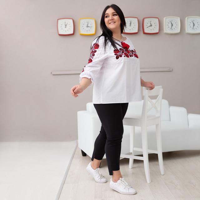 Женская рубашка с вышивкой Роза красная котон
