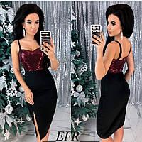 Женское красивое платье новинка 2019 черный с бордо.