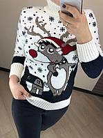 Женский шерстяной вязаный свитер с рисунком олень, белый. Турция.