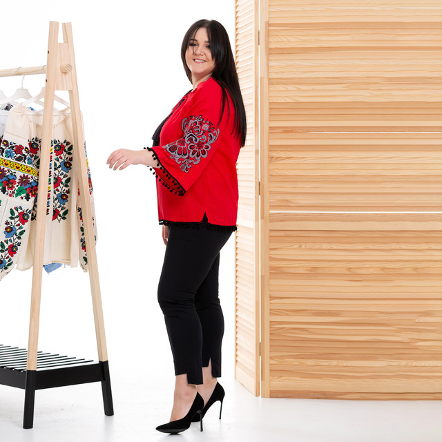 Женская блуза с вышивкой Этностиль красная