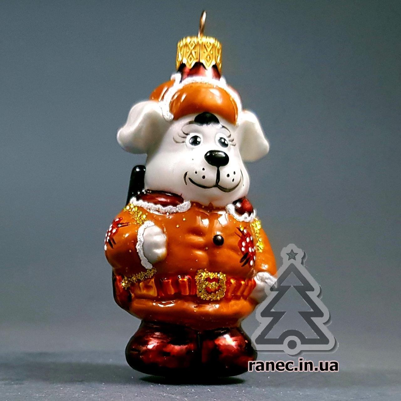 Стеклянная елочная игрушка Собака Охотник 301/с
