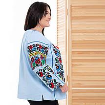 Жіноча блуза вишиванка Мальва блакитна, фото 3