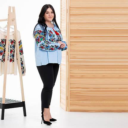 Жіноча блуза вишиванка Мальва блакитна, фото 2