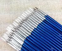 Кисть для малювання тонка синя синтетика 10 мм, 16 див. Пензлик для малювання синтетичний