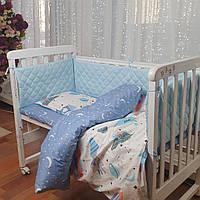 Комплект постельного в кроватку + бортики (защита) в кроватку от ТМ Сон-тра (простынь на резинке).