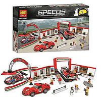 """Конструктор в коробке пластиковый, Bela Speeds Champion 10947 """"Гараж Ferrari"""", 883 детали"""