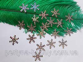 Блискітки Сніжинки сріблясті з галогеновим переливом. Клейові , 20 шт