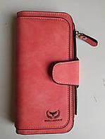 Жіночий замшевий клатч гаманець Wallerry 2345 червоний, штучна замша, гаманець, жіночі гаманці, портмоне