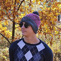 Стильная мужская вязаная шапка с бубоном Nike серая с сиреневым шерстяная теплая качественная Найк реплика