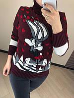 Женский шерстяной свитер с рисунком зайчик, бордовый. Турция., фото 1