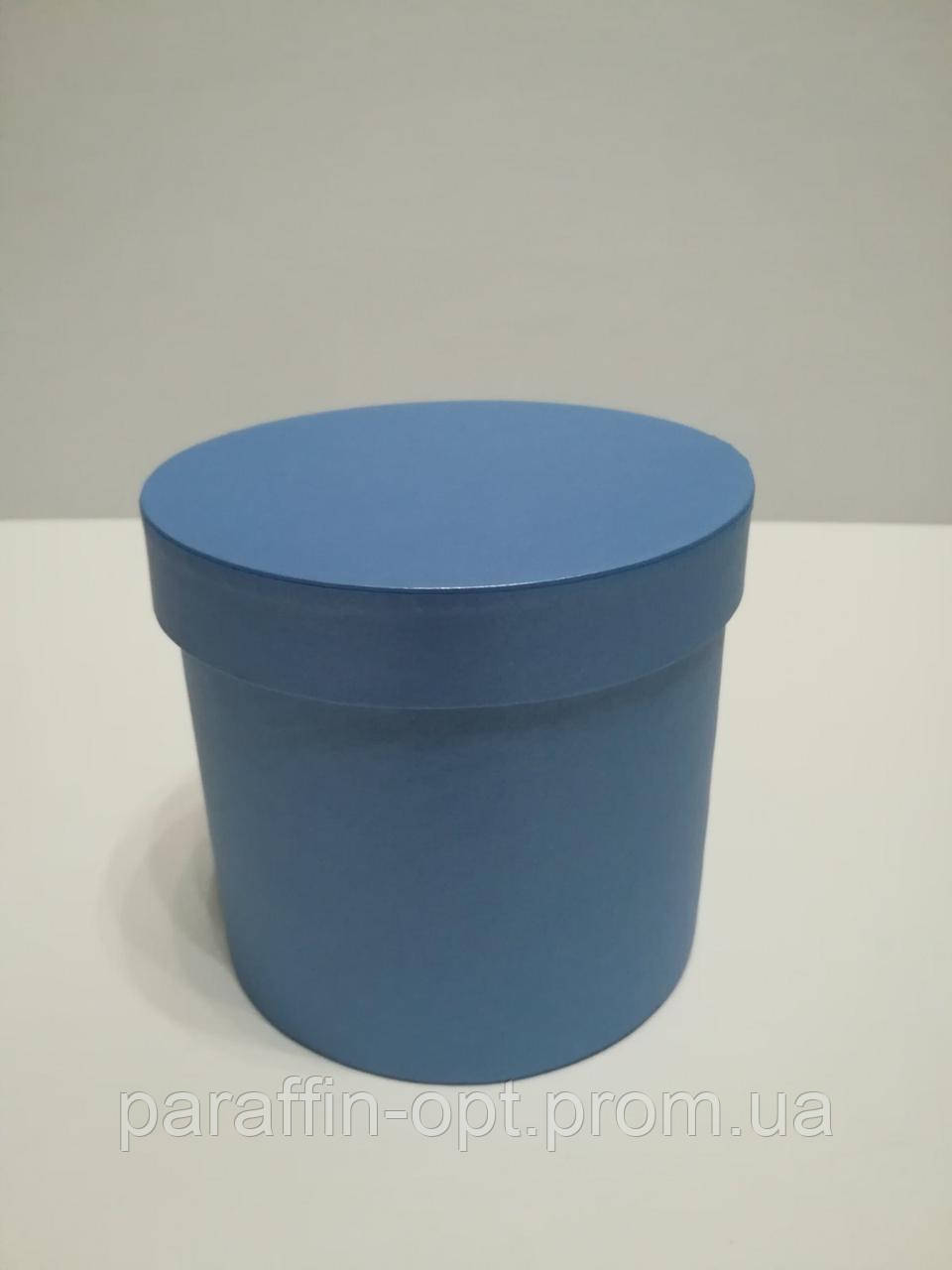 Подарочная коробка в форме шляпы цвет-синяя перламутровая