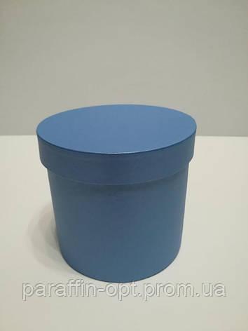 Подарочная коробка в форме шляпы цвет-синяя перламутровая, фото 2