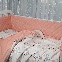 Комплект постельного белья в кроватку + бортики (защита) в кроватку от ТМ Сон-тра (простынь на резинке)