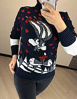Жіночий вовняний светр з малюнком зайчик, синій. Туреччина., фото 1