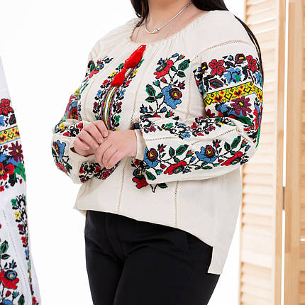 Жіноча блуза вишиванка Мальва бежева, фото 2