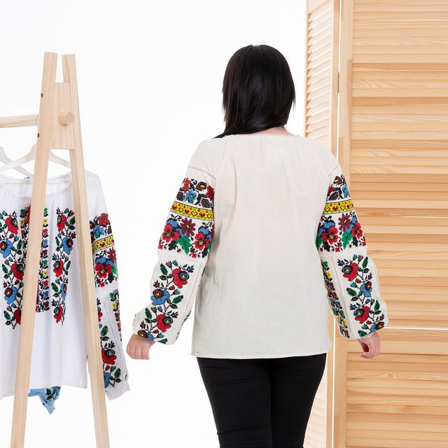 Женская блуза вышиванка Мальва бежевая
