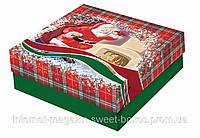 Коробка новогодняя подарочная картонная самосборная № 30. Размер 30 см х 30 см высота 10 см