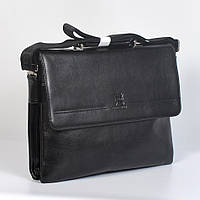 Мужская кожанная сумка через плече - Код 9875-6 - (черная)