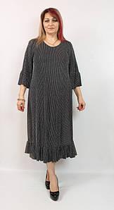 Турецкое женское серебристое платье с люрексом больших размеров 52-66