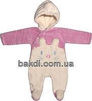 Детский тёплый человечек рост 62 2-3 мес махра розовый на девочку слип с капюшоном для новорожденных малышей Р775