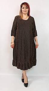Турецкое женское золотистое платье с люрексом больших размеров 52-66