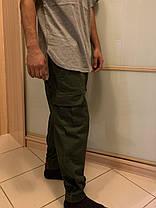 Штаны карго олива с боковыми карманами хаки, фото 3