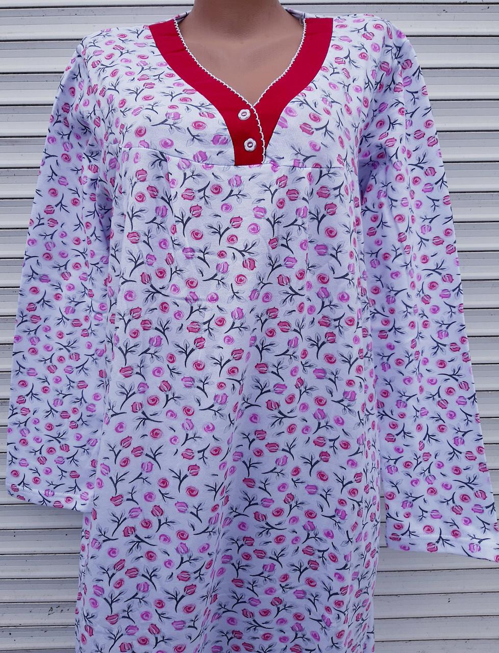 Трикотажная ночная рубашка две пуговки