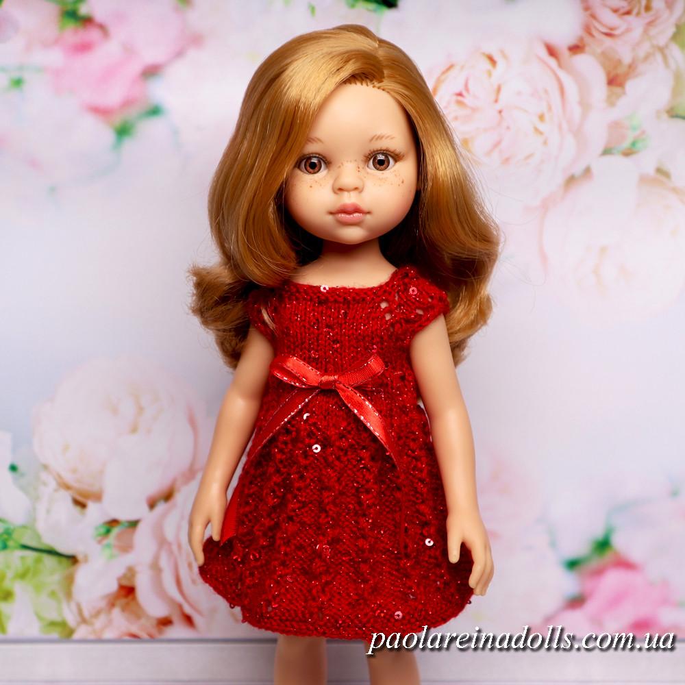 """Платье """"Вьюнок красный"""" с паетками для кукол Паола Рейна"""
